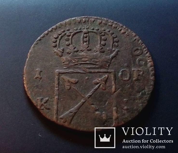 Швеция 1 эре оре 1719 год., фото №2