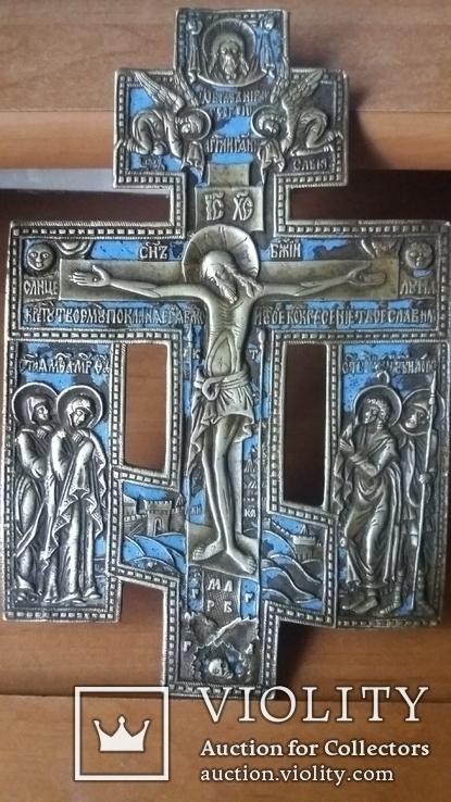 Крест с предстоящими 22 см эмаль, фото №2