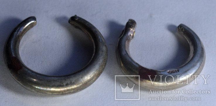 Серьги 2 шт. под реставрациию диам 20мм диам 22мм серебро 3,39г, Лот 5006, фото №4
