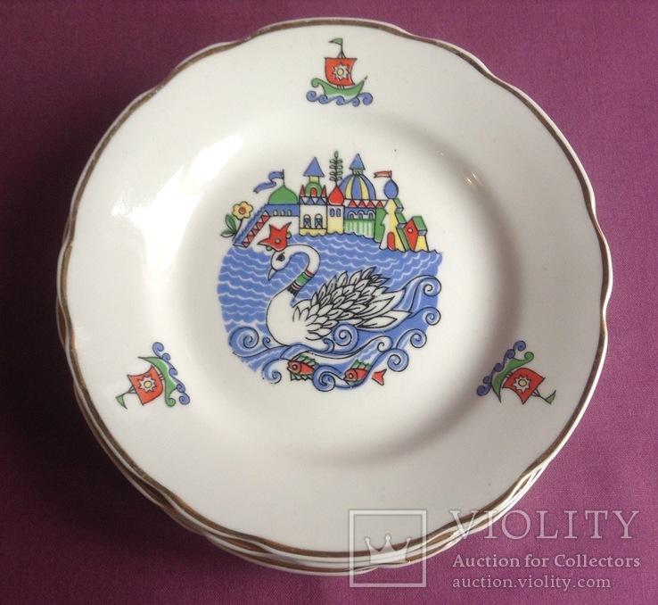 Тарелки закусочные Царевна-лебедь. Фарфор, Коростень., фото №3