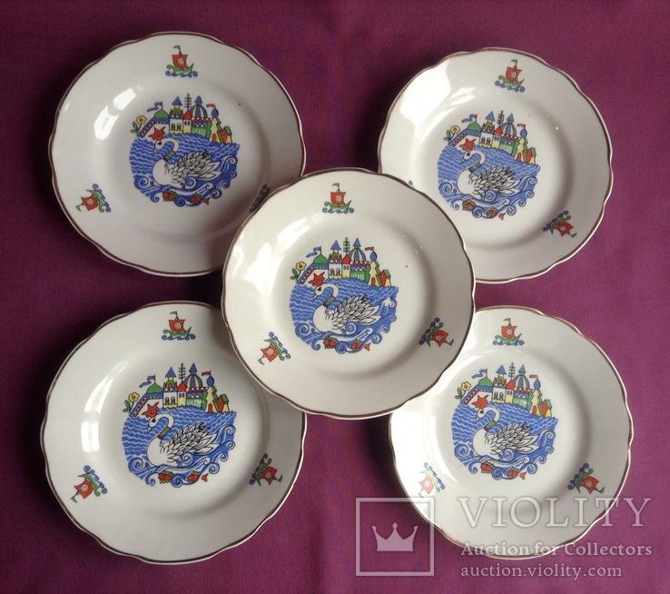 Тарелки закусочные Царевна-лебедь. Фарфор, Коростень., фото №2