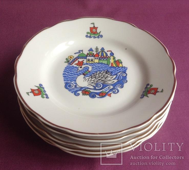 Тарелки закусочные Царевна-лебедь. Фарфор, Коростень., фото №5