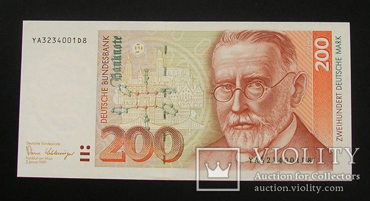 Германия ФРГ 200 марок 1989 серия замены YA UNC Німеччина Germany, фото №2