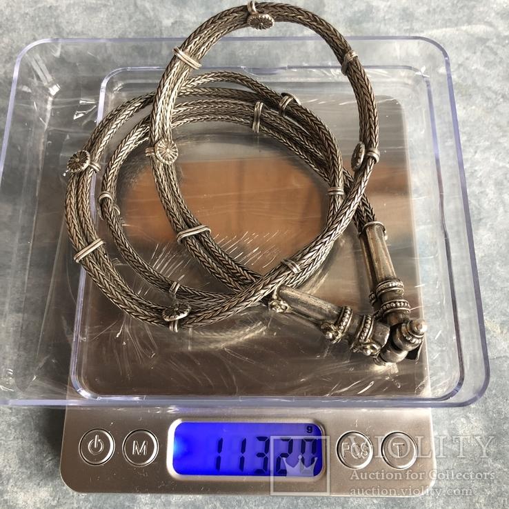 Старое серебряное украшение 113 грамм, фото №13