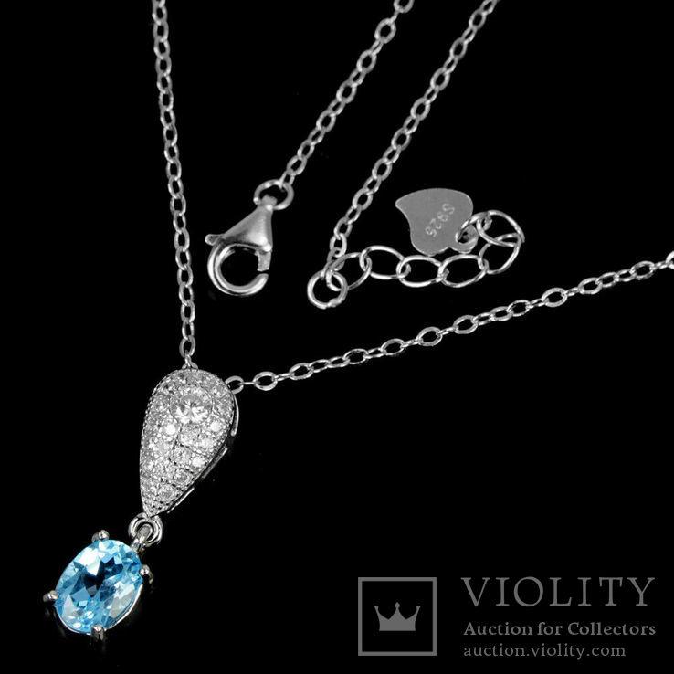 Ожерелье с голубым топазом, фото №4