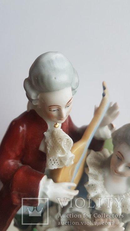 Статуэтка Германия композиция мадам и пан с музыкальным инструментом, фото №3