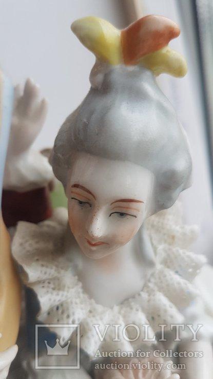 Статуэтка Германия композиция мадам и пан с музыкальным инструментом, фото №6
