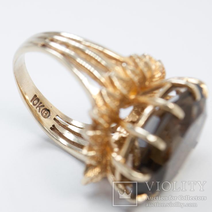 Золотое кольцо с натуральным дымчатым кварцем, фото №4