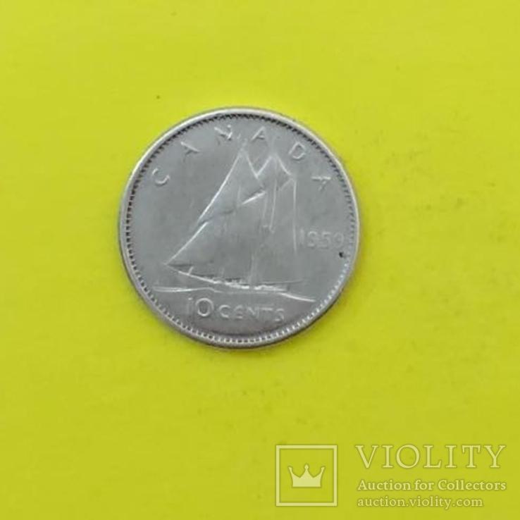 Канада 10 центов,   1959р. Срібло., фото №2