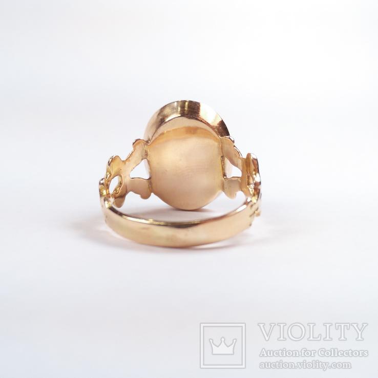 Золотое кольцо с натуральным кораллом, фото №5