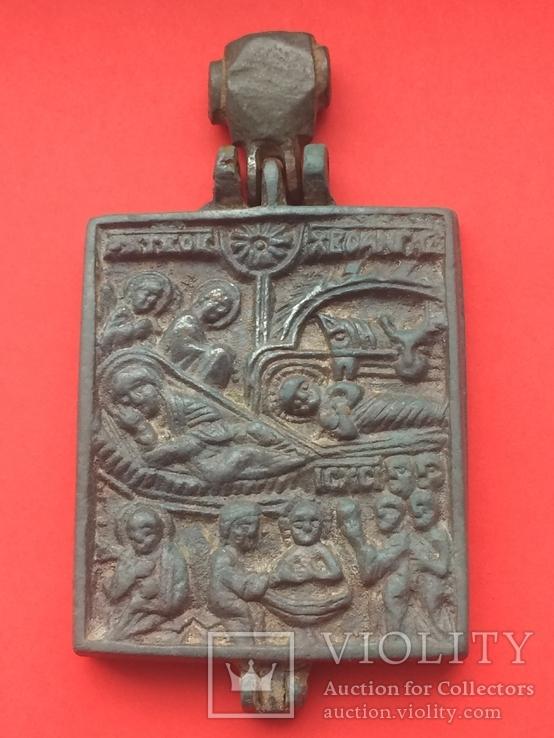 Икона - Энколпион XV век Рождество Христово, Крещение Господне, фото №3