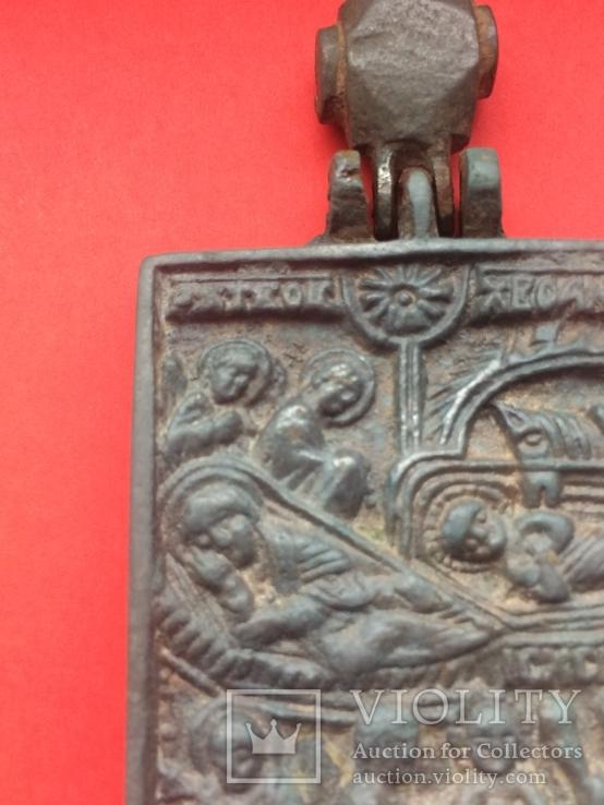 Икона - Энколпион XV век Рождество Христово, Крещение Господне, фото №4