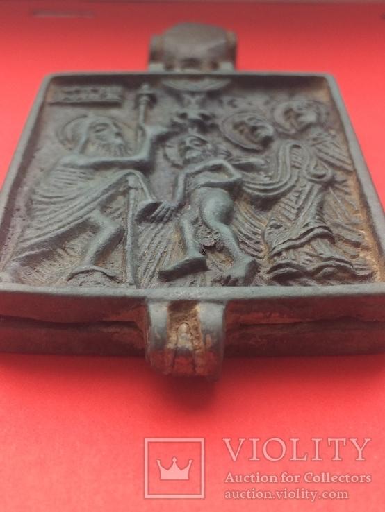 Икона - Энколпион XV век Рождество Христово, Крещение Господне, фото №5