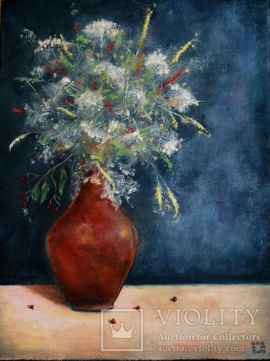 Натюрморт с полевыми цветами. 30*40 см