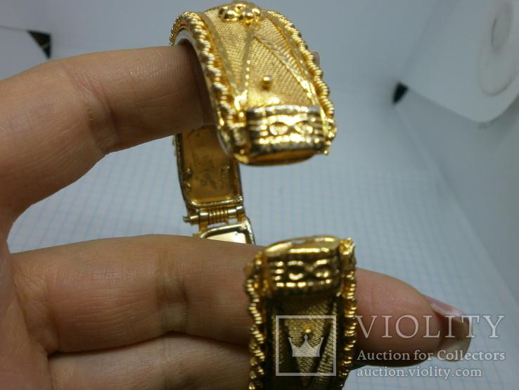 Разжимной браслет с орнаментом. Ширина 15мм, фото №7