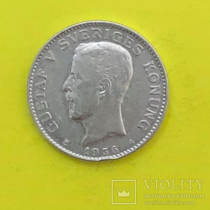 Швеція 1 крона, 1936р. Срібло., фото №2