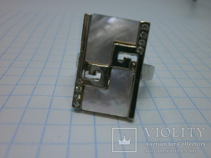 Кольцо со вставками под перламутр, фото №4