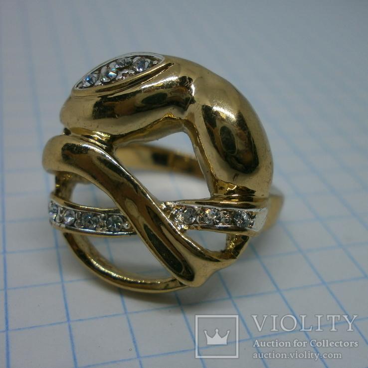 Кольцо под золото с камнями. Новое, фото №2