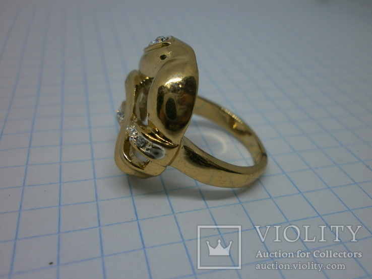 Кольцо под золото с камнями. Новое, фото №3