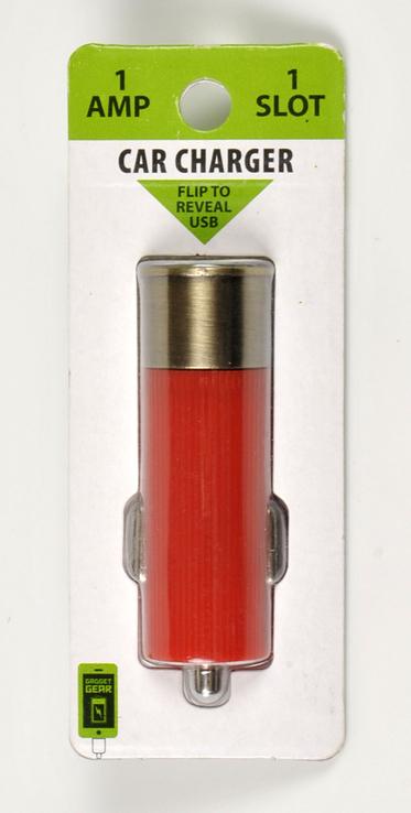 Автомобильное зарядное устройство адаптер USB 1A Gadget Gear в виде охотничьего патрона