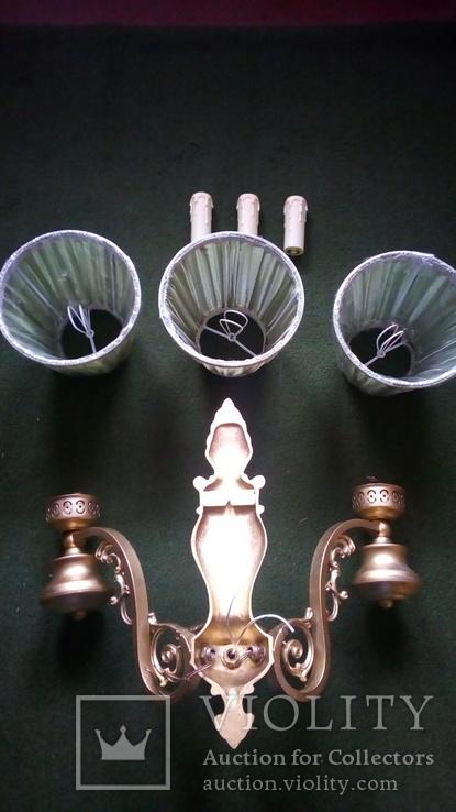 Бра на три лампы с абажурами, фото №7