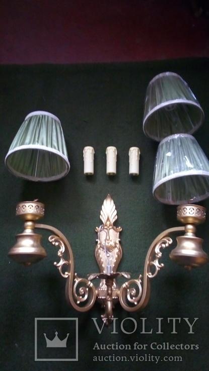 Бра на три лампы с абажурами, фото №2