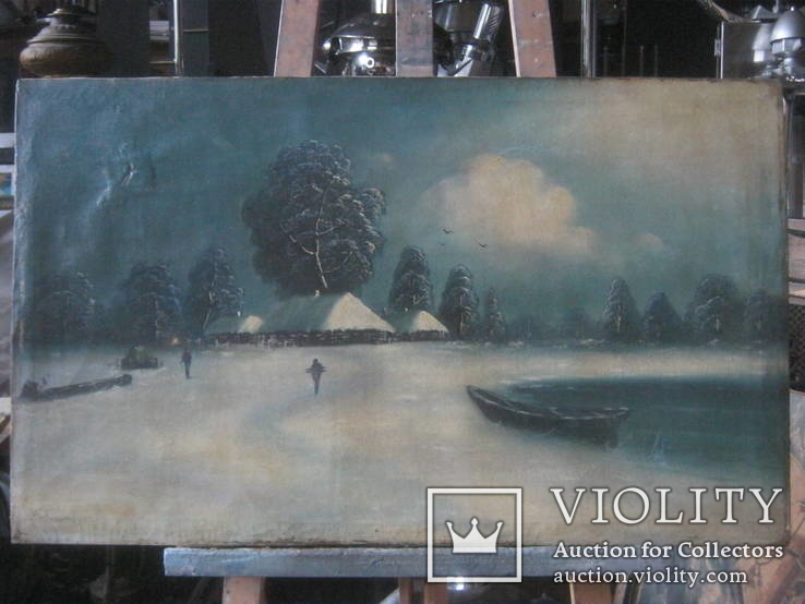"""Зима"" х.м.,48х80 см, фото №3"