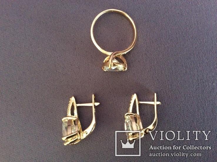 Набор: серьги, кольцо (17р); 585, трезубец. 9,5 г., фото №5