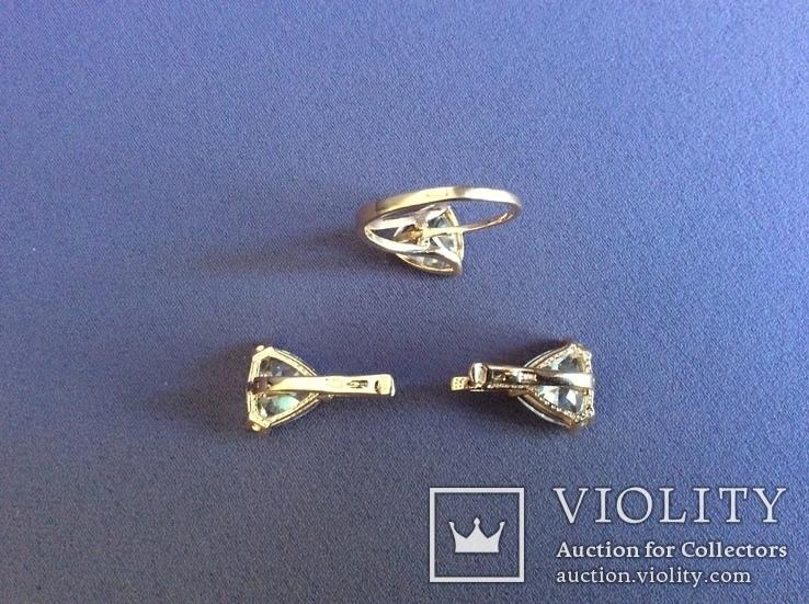 Набор: серьги, кольцо (17р); 585, трезубец. 9,5 г., фото №10