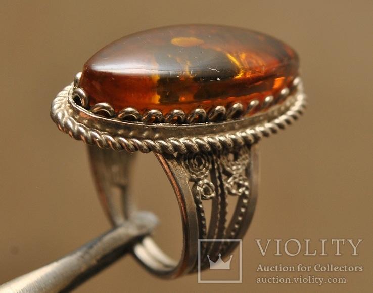 Винтажный перстень с янтарем, фото №2