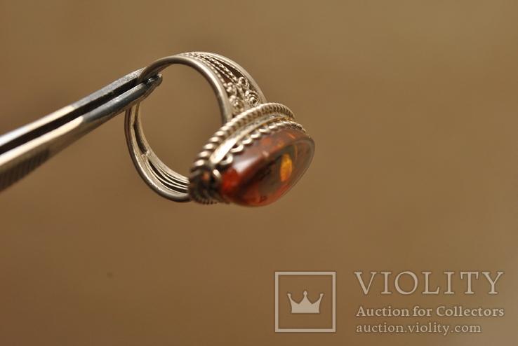 Винтажный перстень с янтарем, фото №3