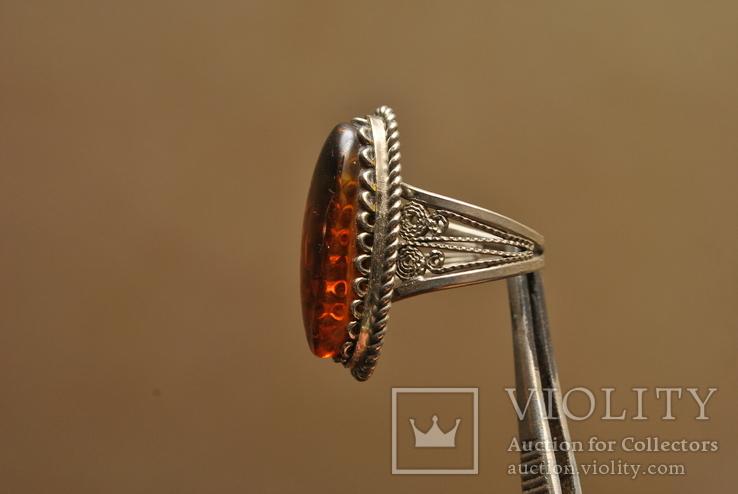 Винтажный перстень с янтарем, фото №4