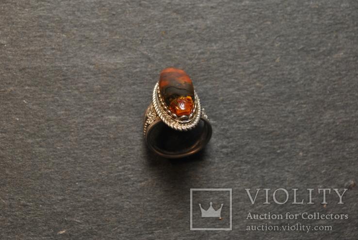 Винтажный перстень с янтарем, фото №5