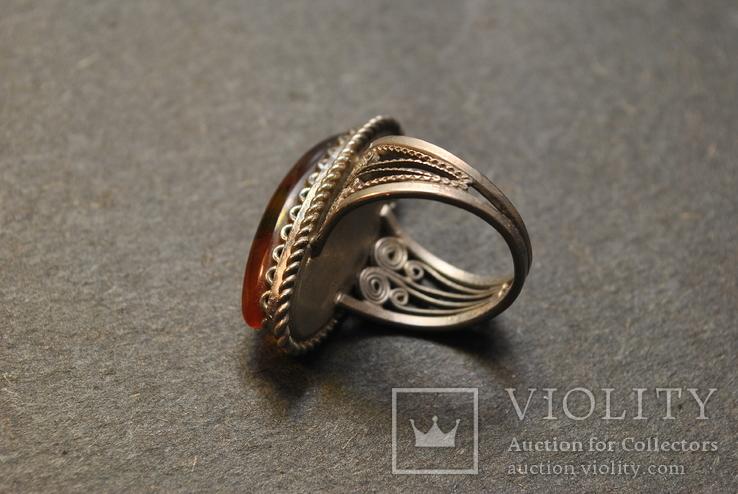 Винтажный перстень с янтарем, фото №7
