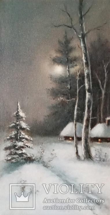 ''Зимний пейзаж ''. 18х35 см. масло холст на подрамнике. Копия.