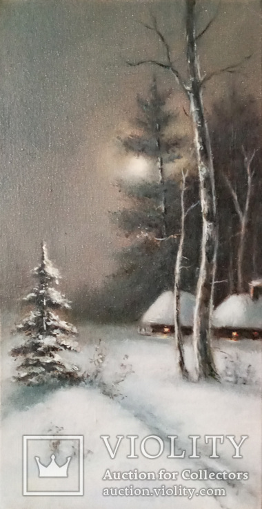 ''Зимний пейзаж ''. 18х35 см. масло холст на подрамнике. Копия., фото №6