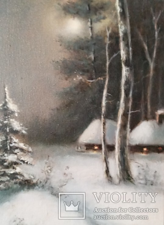 ''Зимний пейзаж ''. 18х35 см. масло холст на подрамнике. Копия., фото №7