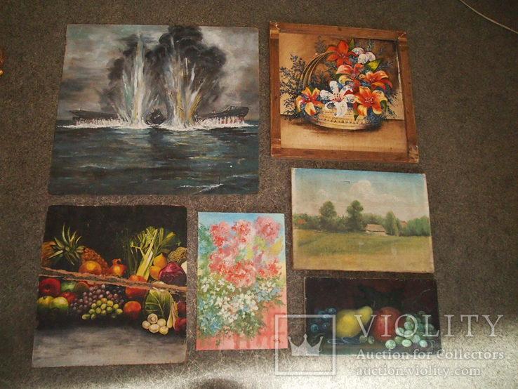 Картины, масло - двп. (6 картин), фото №2