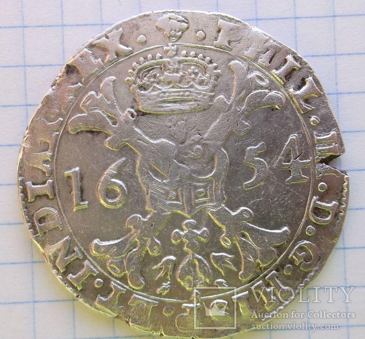 Талер Филиппа 4 го 1654 года герцогство Брабант Нідерланди, фото №3