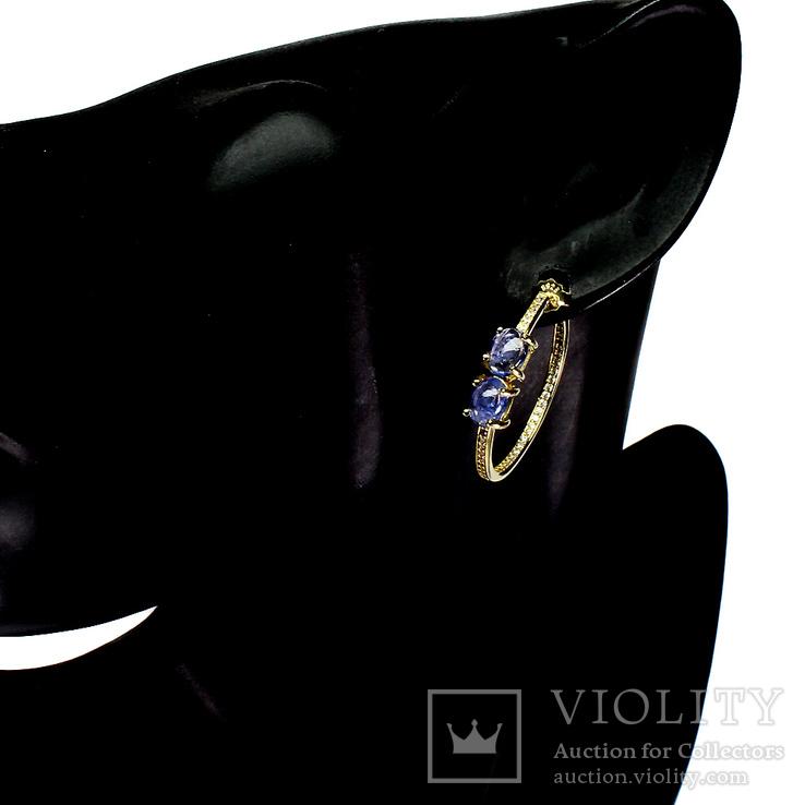 Серьги-кольца с натуральными танзанитами, фото №2