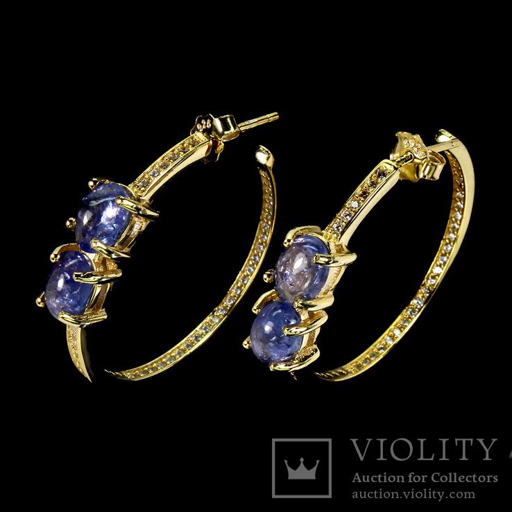 Серьги-кольца с натуральными танзанитами, фото №3