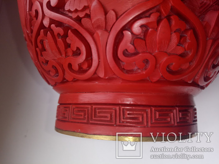 Ваза красного китайского резного лака Китай 50е года . 20в., фото №4