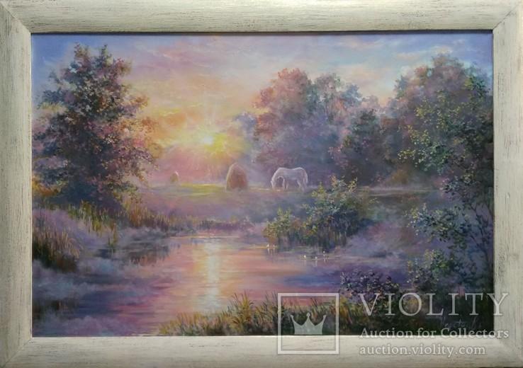 Картина маслом пейзаж Теплий світанок 40х60см холст на подрамнике