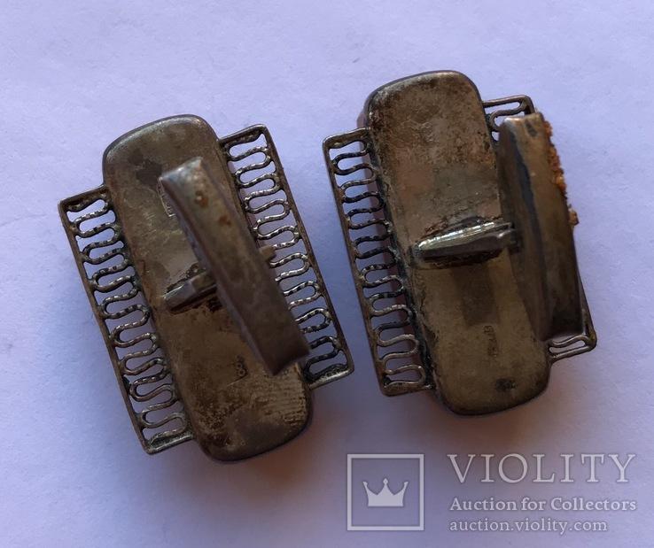 Запонки с янтарем , 875 пр., фото №5