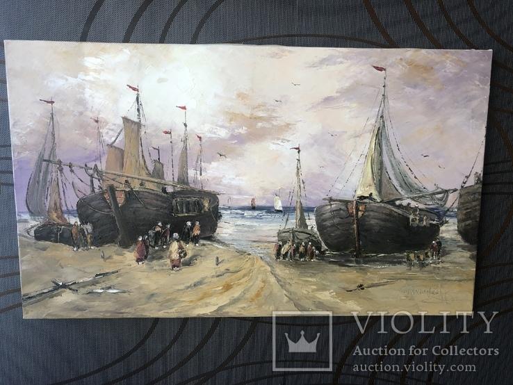 Люди встречают корабли на берегу, фото №2