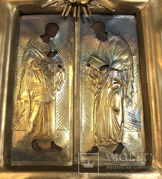 Икона апстолы Петр и Павел. Серебро 84 пробы. (новодел), фото №9