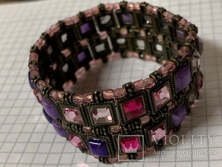 Винтажный металический браслет с разноцветными камушками, фото №4