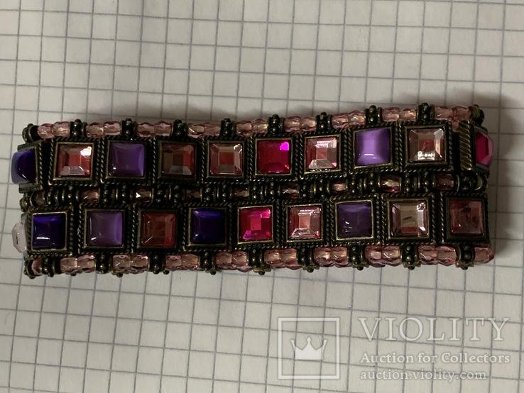 Винтажный металический браслет с разноцветными камушками, фото №5