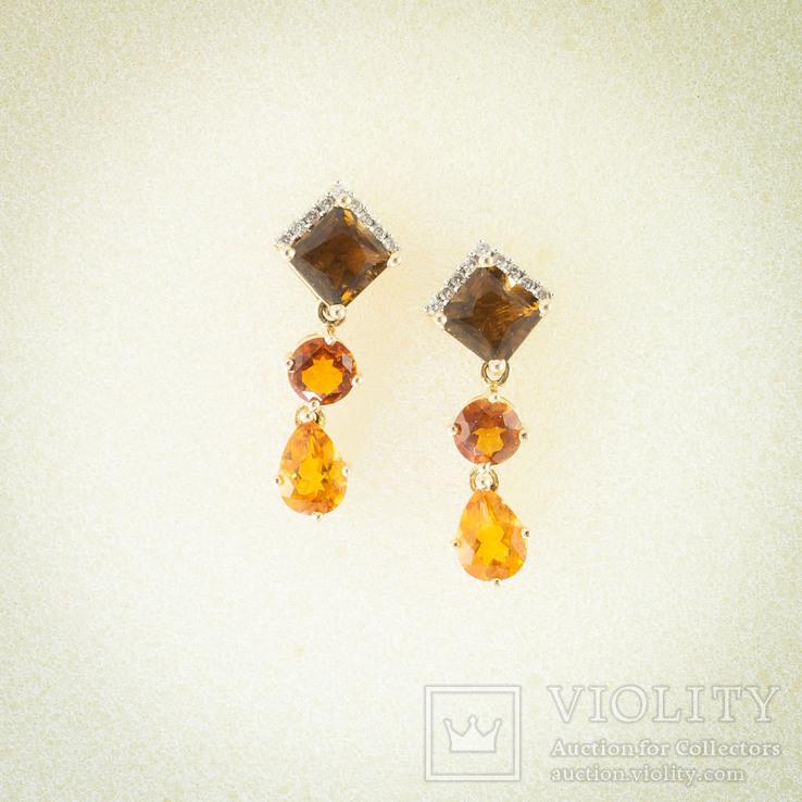 Винтажные золотые серьги с натуральными цитринами и бриллиантами