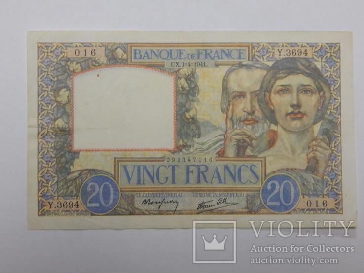Бона 20 франков, 1941 г Франция, фото №2